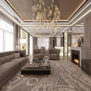 Дизайн интерьера гостиной в таунхаусе