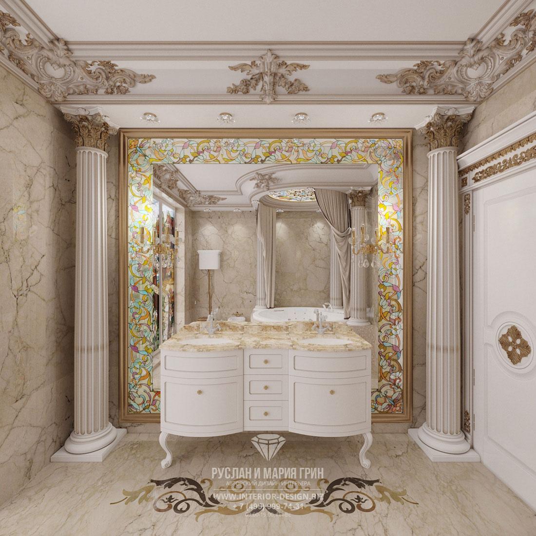 Дизайн интерьера ванной комнаты в доме в классическом стиле