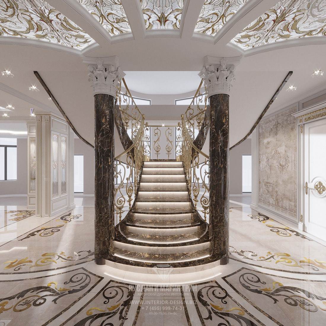 Дизайн холла элитного дома с центральной лестницей в дворцовом стиле