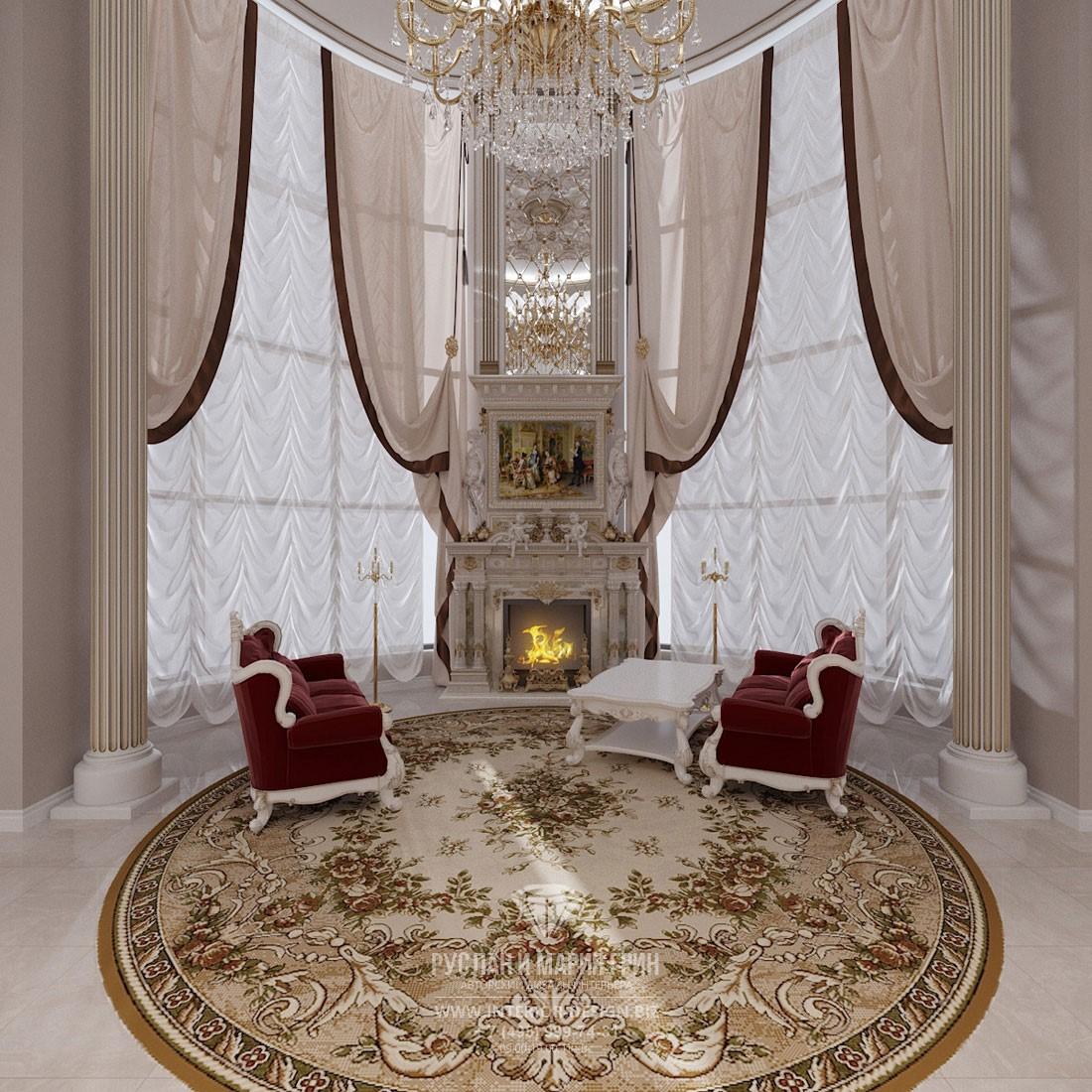 Дизайн зоны отдыха в элитном доме с угловым камином