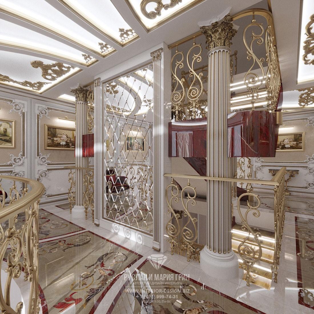 Дизайн лестницы в классическом стиле в элитном загородном доме