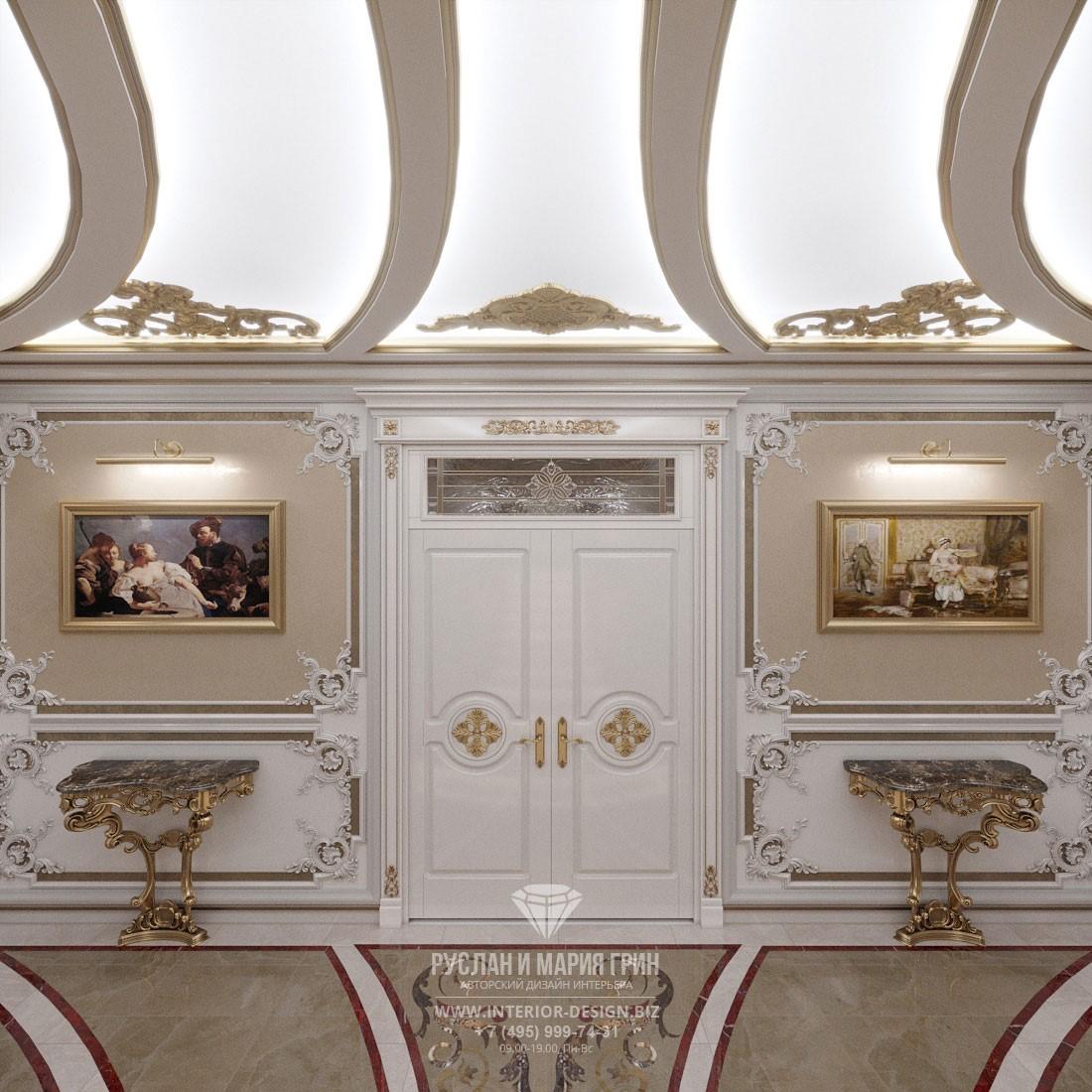 Классический стиль в дизайне коридора с симметричной планировкой