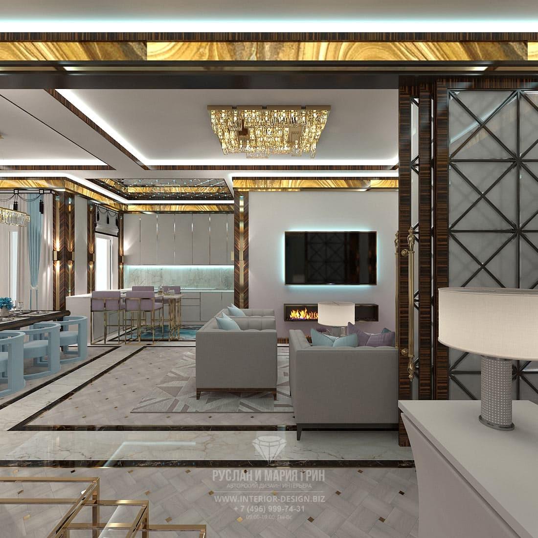 Дизайн гостиной в стиле арт-деко с биокамином