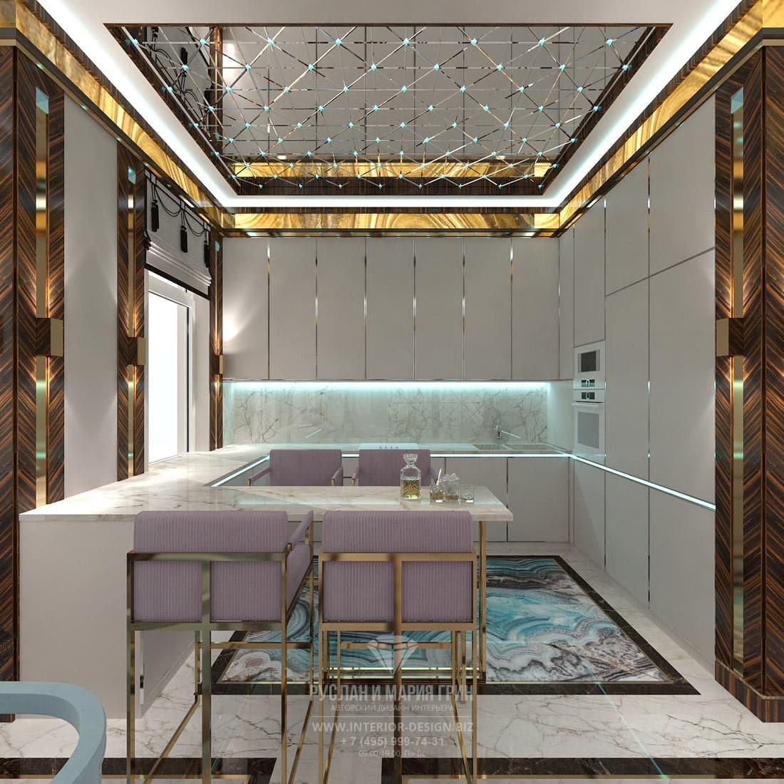 Дизайн кухни в стиле арт-деко с П-образной планировкой
