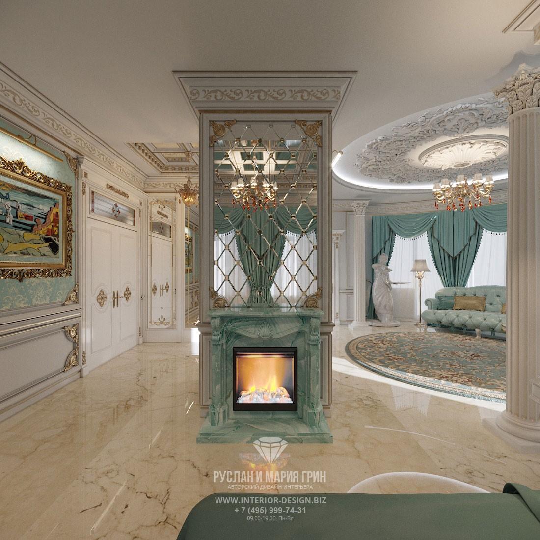 Дизайн бирюзовой спальни с камином в интерьере элитного дома