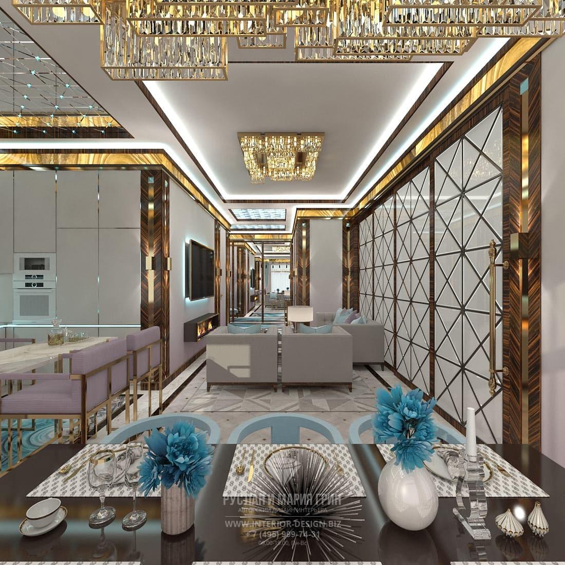 Дизайн гостиной в коттедже с перегородкой из матового стекла