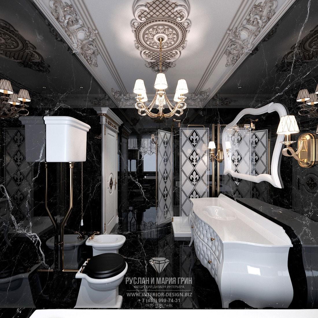 Дизайн классической ванной комнаты в черном мраморе