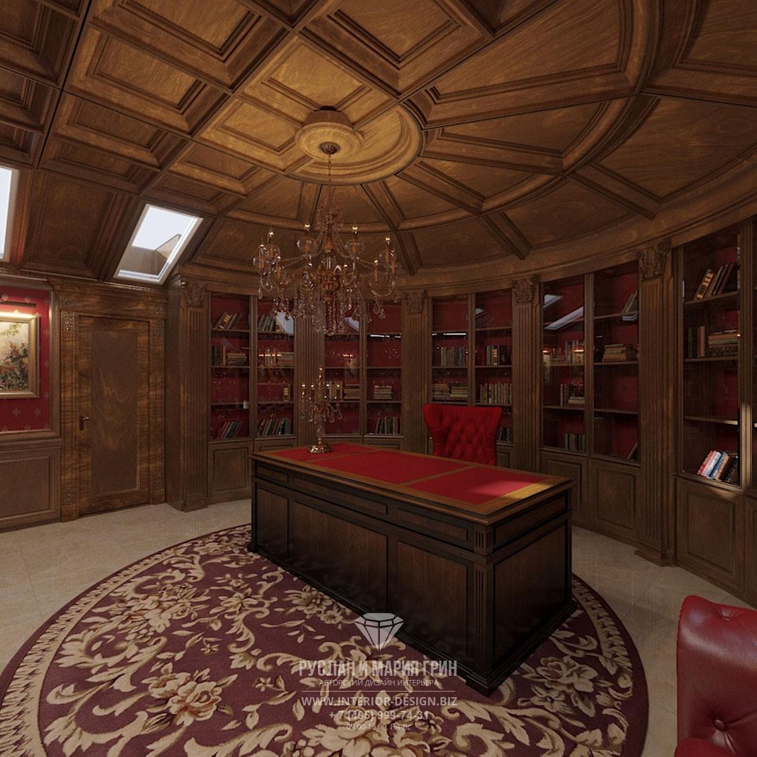 Интерьер классического кабинета с кессонами на потолке