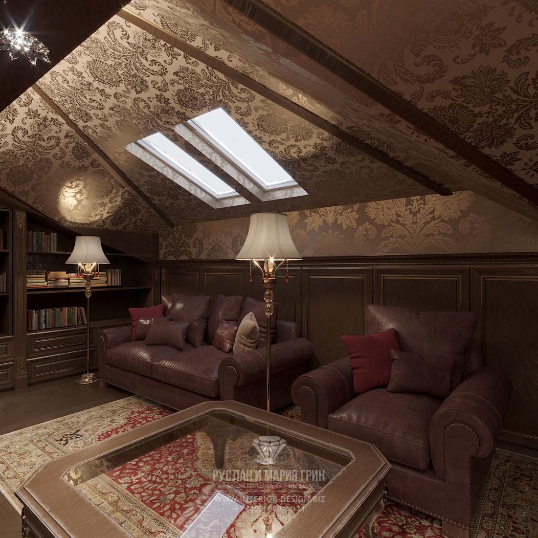 Дизайн мансарды элитного дома с отделкой текстильными панелями