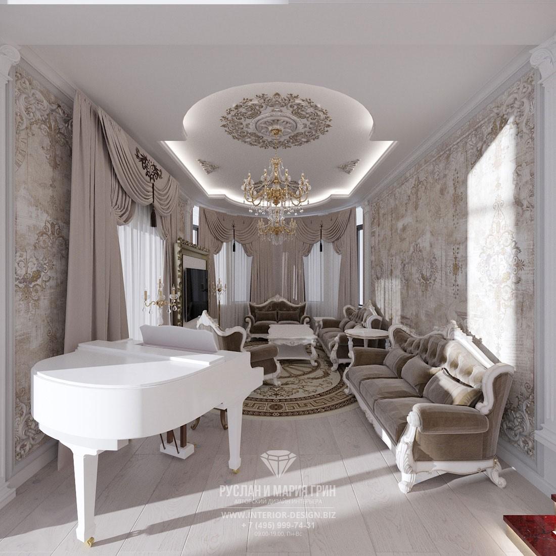Интерьер светлой гостиной в классическом стиле с фресками