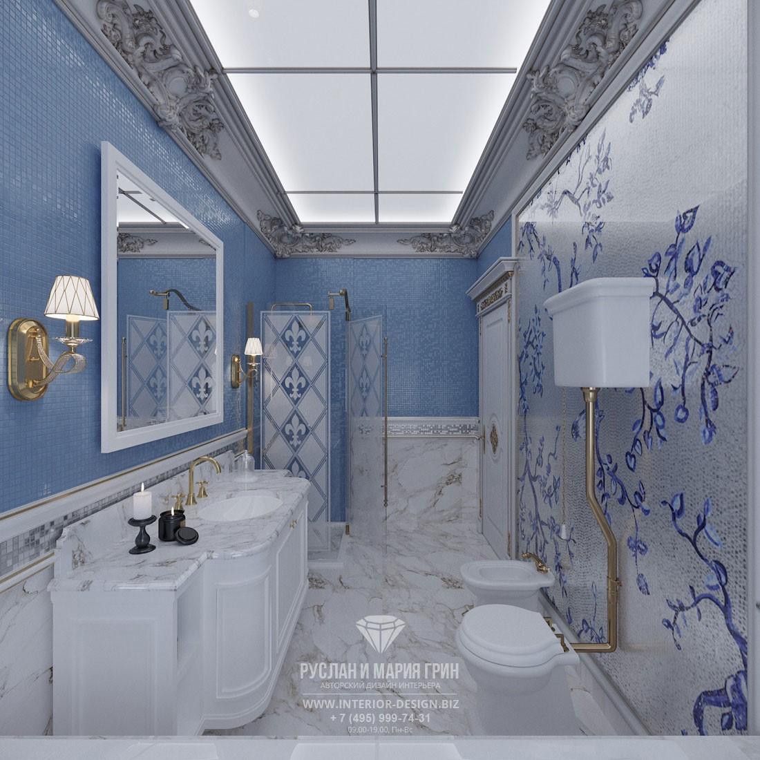 Дизайн ванной комнаты  в классическом стиле с мозаичной отделкой