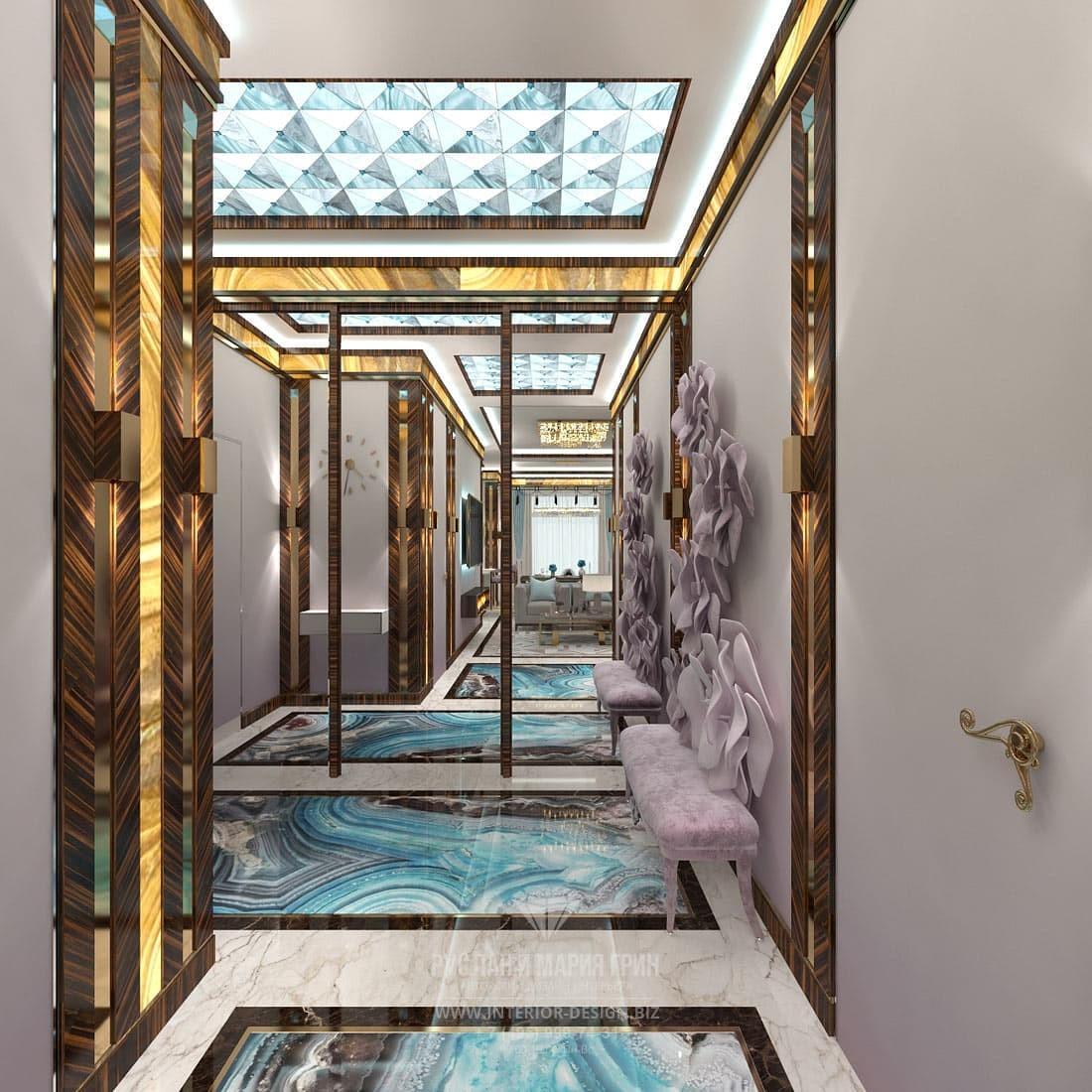 Дизайн элитного загородного дома в стиле арт-деко – коридор с мраморным полом