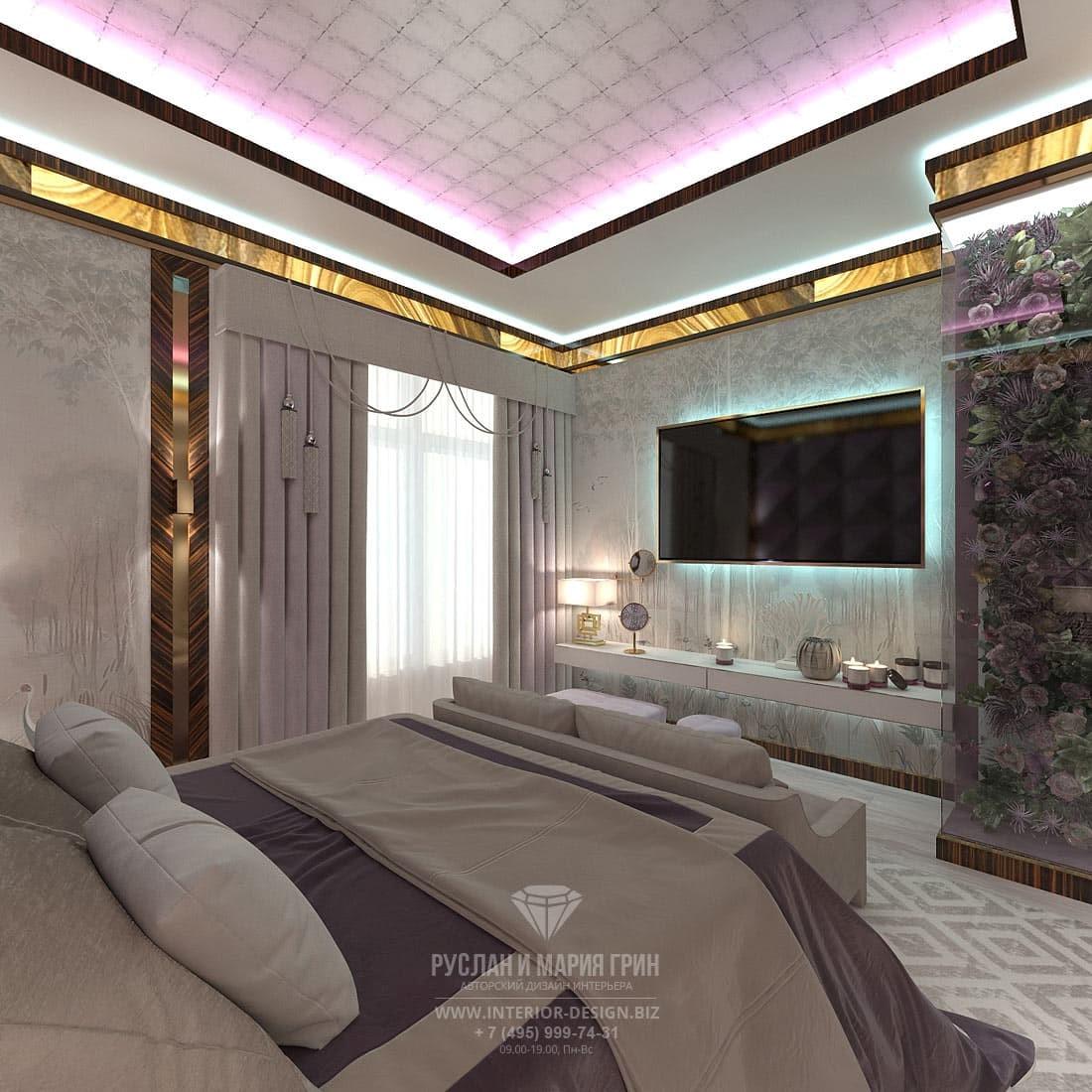 Интерьер спальни с эксклюзивными фотообоями в элитном доме в стиле арт-деко