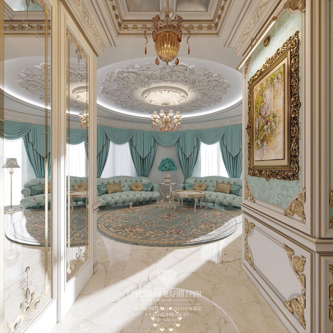Дизайн гостиной в классическом стиле с лепниной