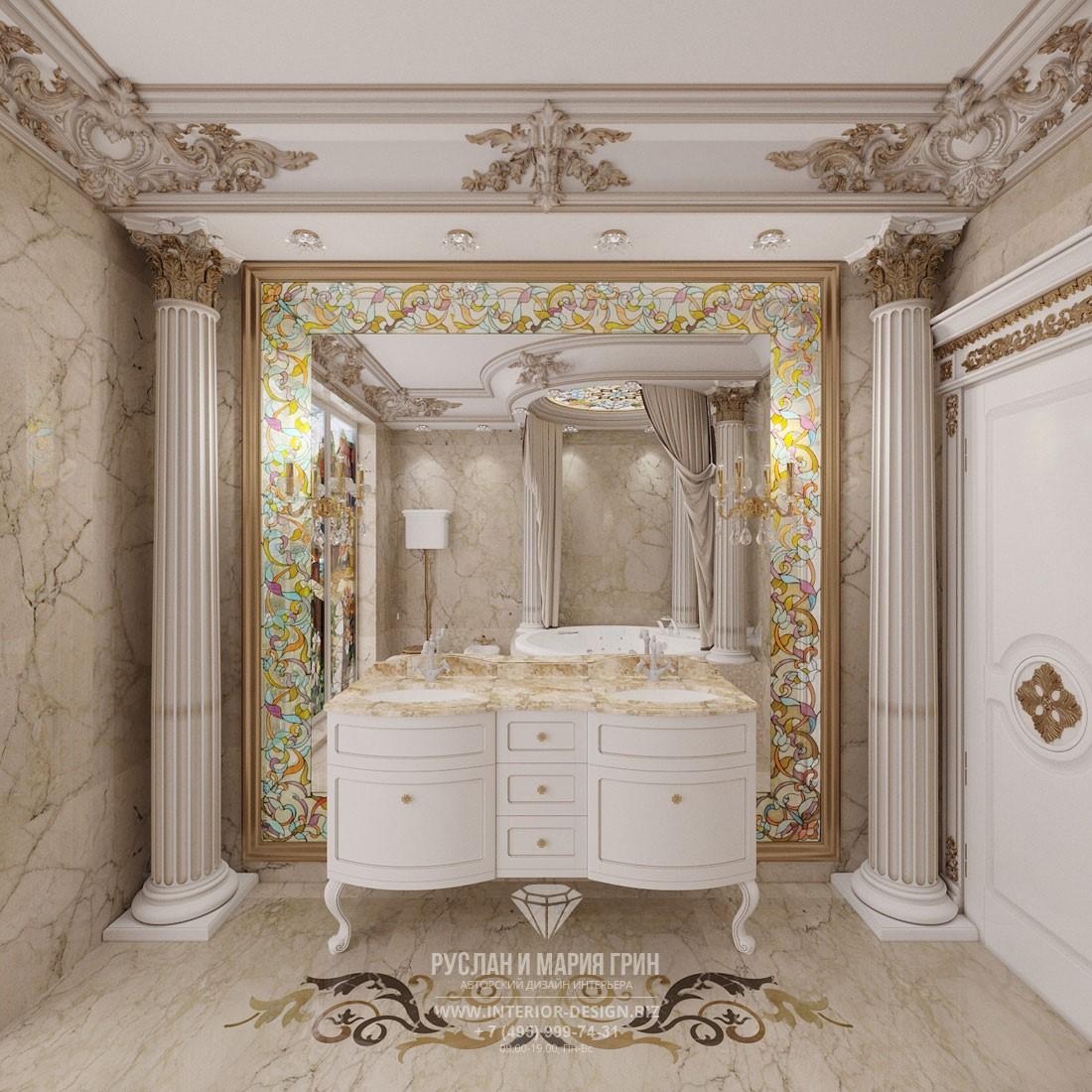 Дизайн ванной комнаты с колоннами в интерьере элитного загородного дома