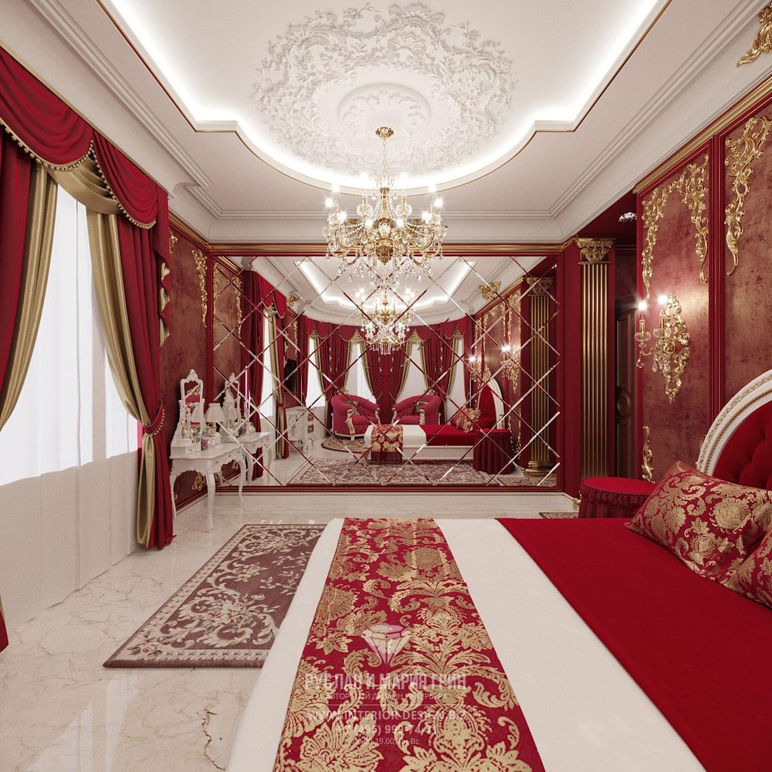 Дизайн спальни в классическом стиле с винно-красных тонах