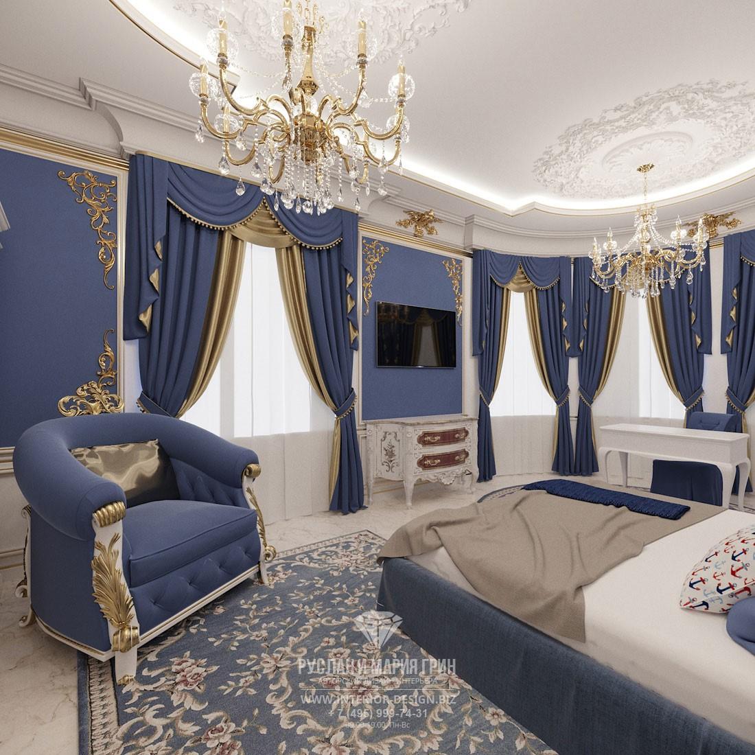 Дизайн классической спальни в элитном частном доме