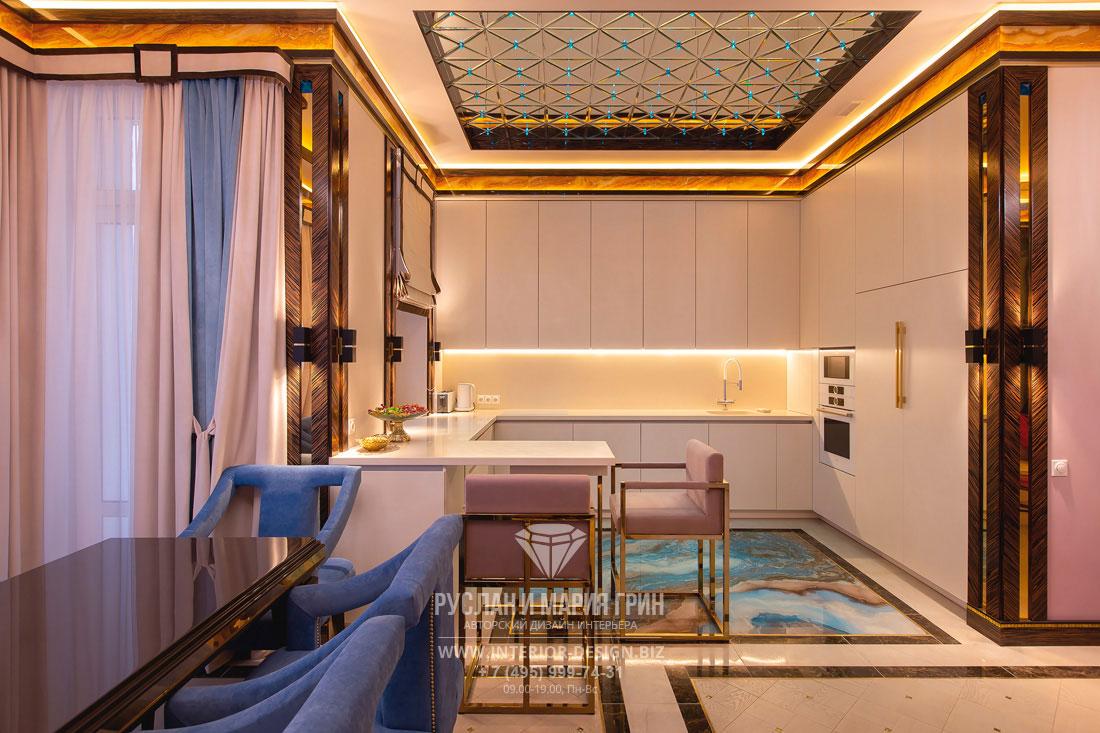 Дизайн кухни в стиле ар-деко. Фото интерьера после ремонта