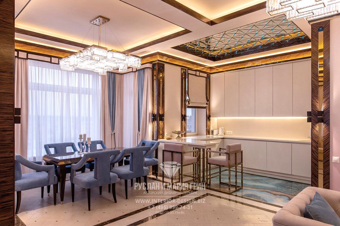 Интерьер кухни-столовой в пастельных тонах