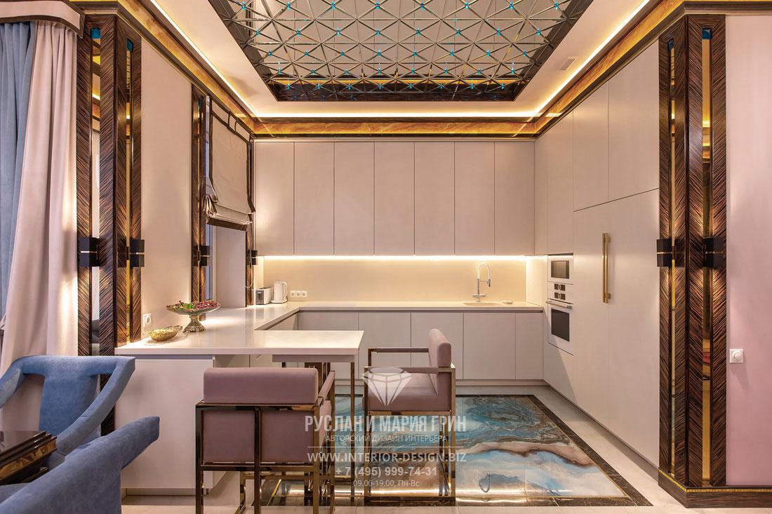 Фото готовой светлой кухни с барной стойкой