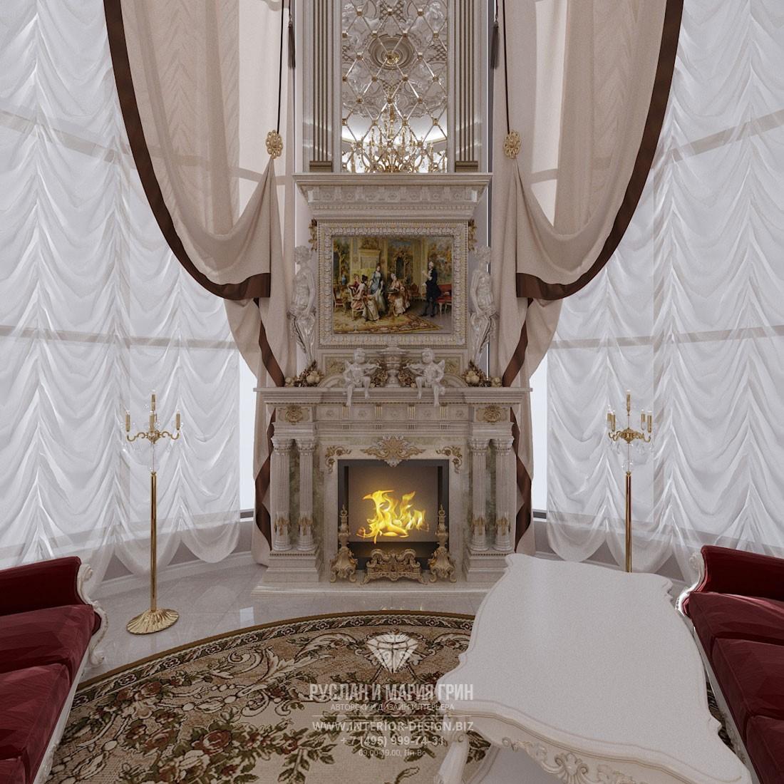 Дизайн классической гостиной со вторым светом и угловым камином