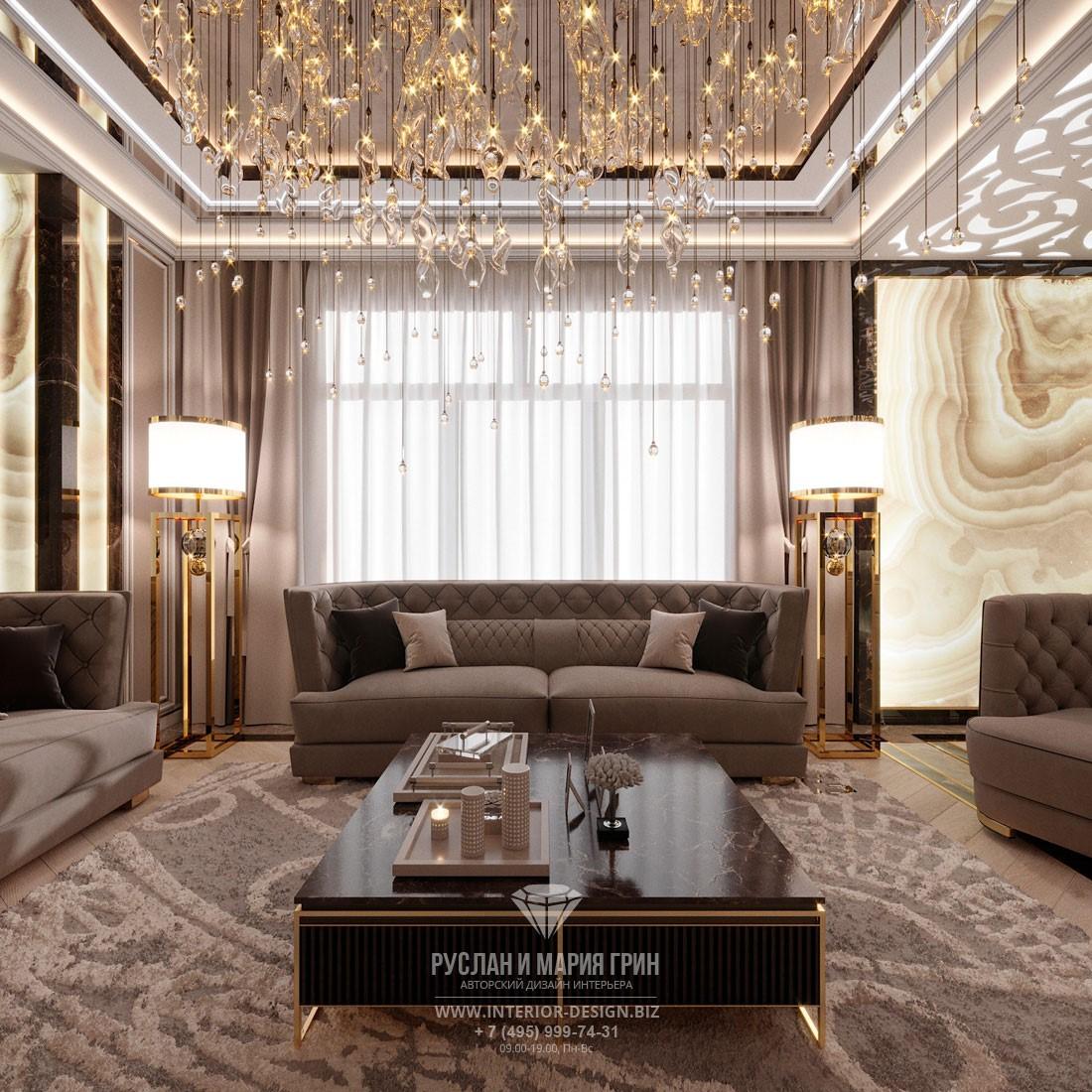 Дизайн бежевой гостиной в стиле арт-деко с многоуровневым светом