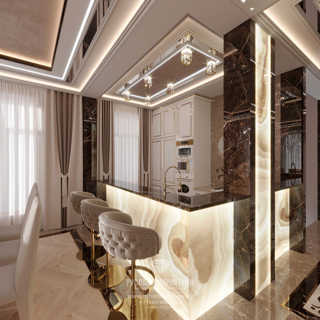 Эксклюзивный интерьер компактной кухни с угловой барной стойкой из оникса