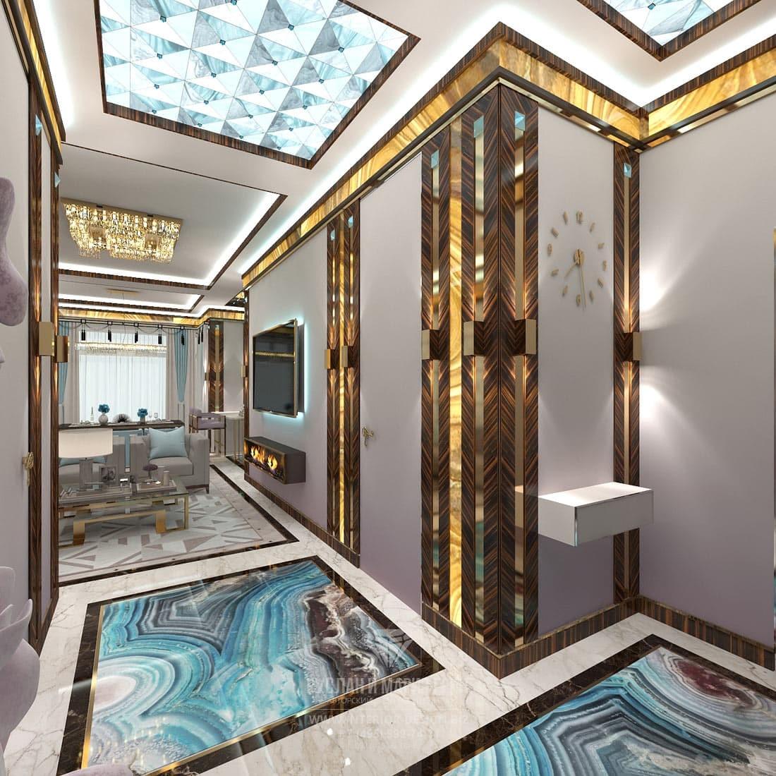 Дизайн холла и коридора с авторскими панелями и полом