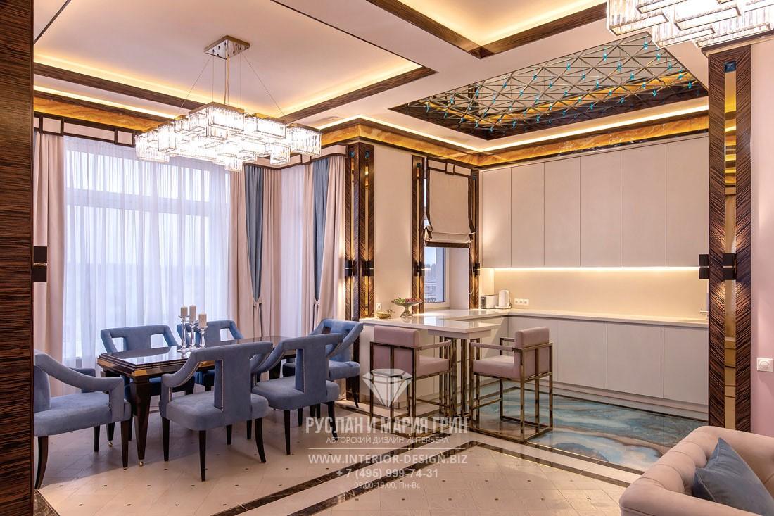 Эксклюзивный дизайн кухни-гостиной в стиле арт-деко