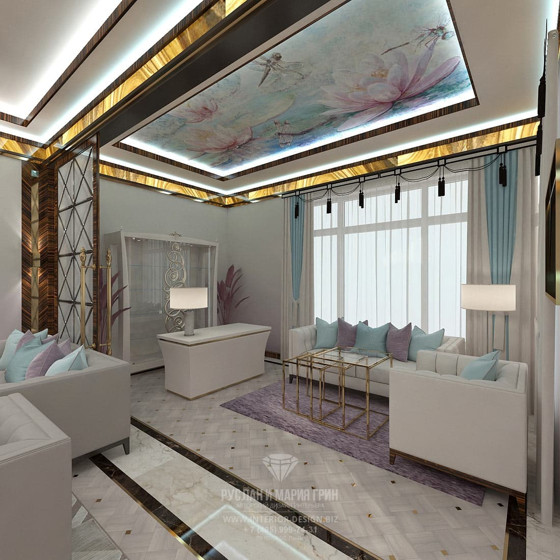 Эксклюзивный дизайн светлого кабинета с потолочной росписью