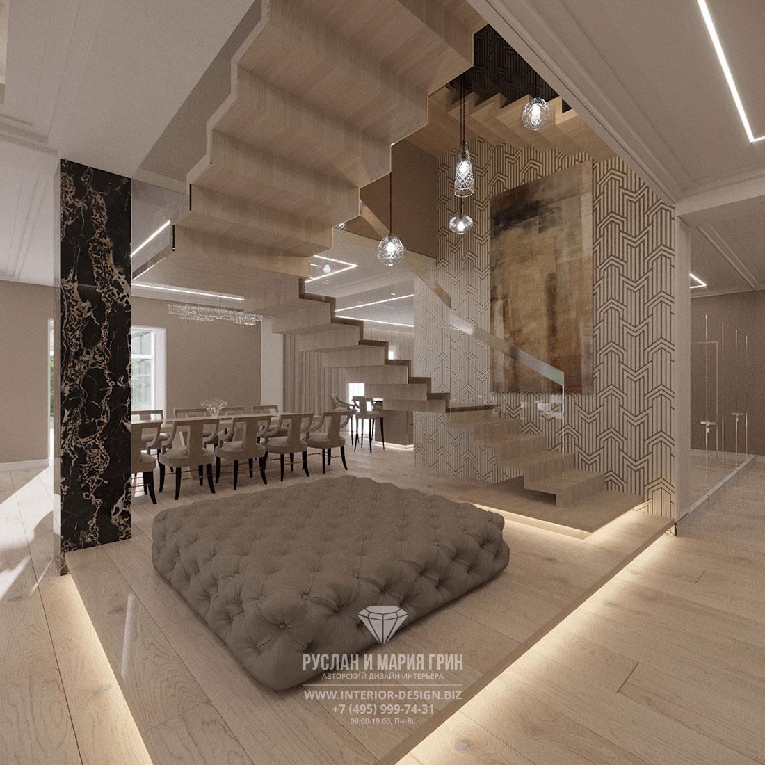 Ремонт в стиле минимализм в частном доме – гостиная с лестницей