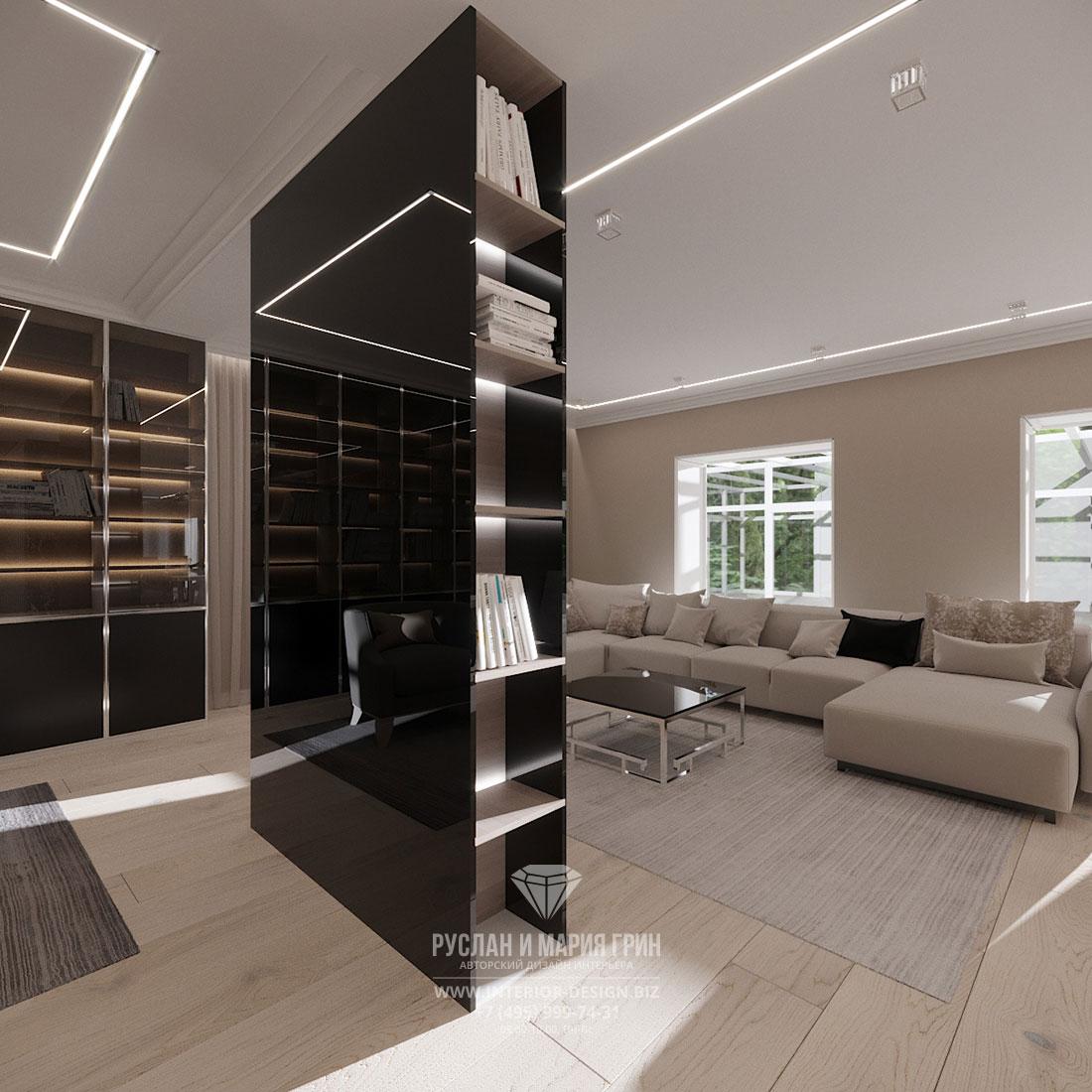 Светлая гостиная в стиле минимализм с перегородкой из черного стекла – ремонт частного дома