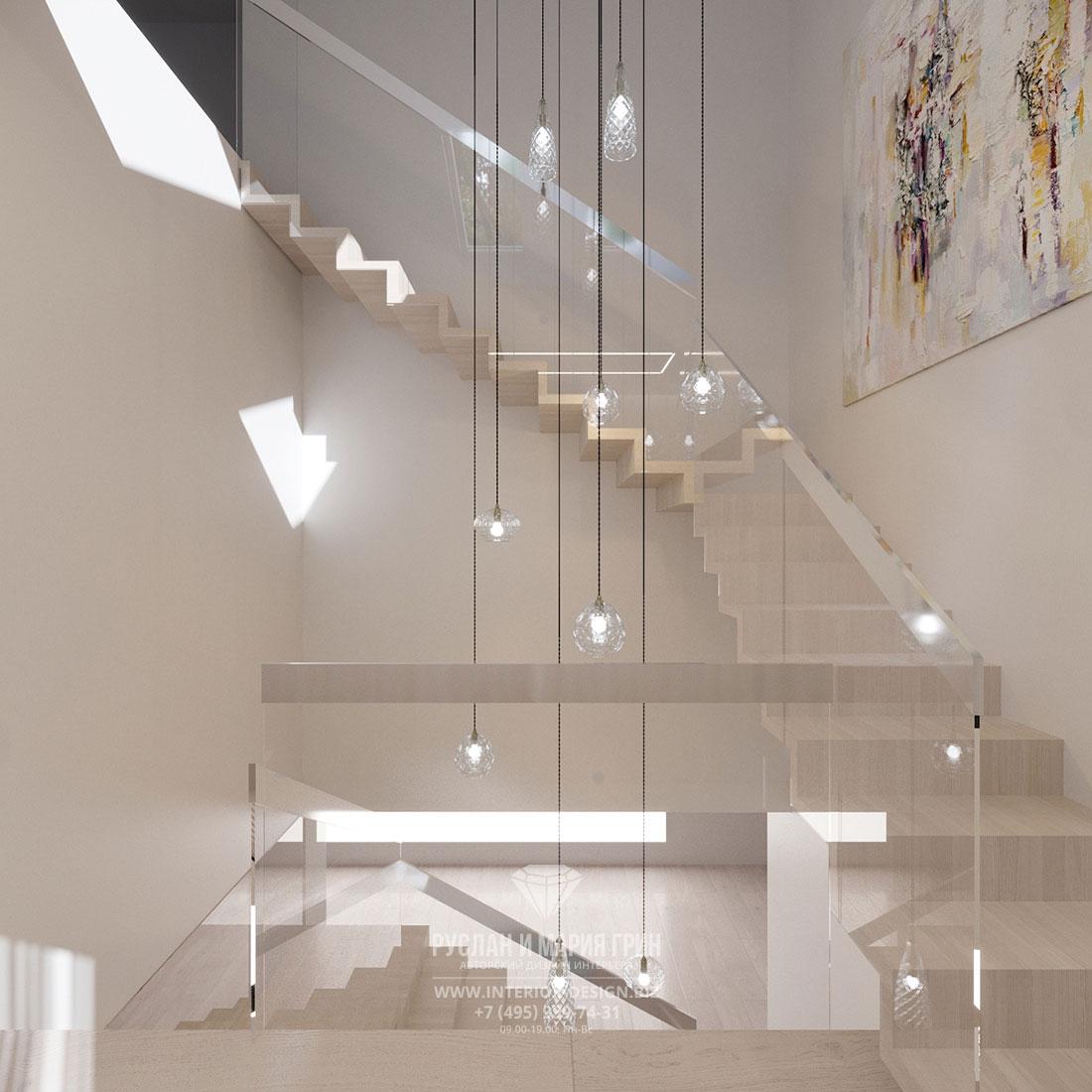 Ремонт частного дома в стиле минимализм – лестница с прозрачным ограждением