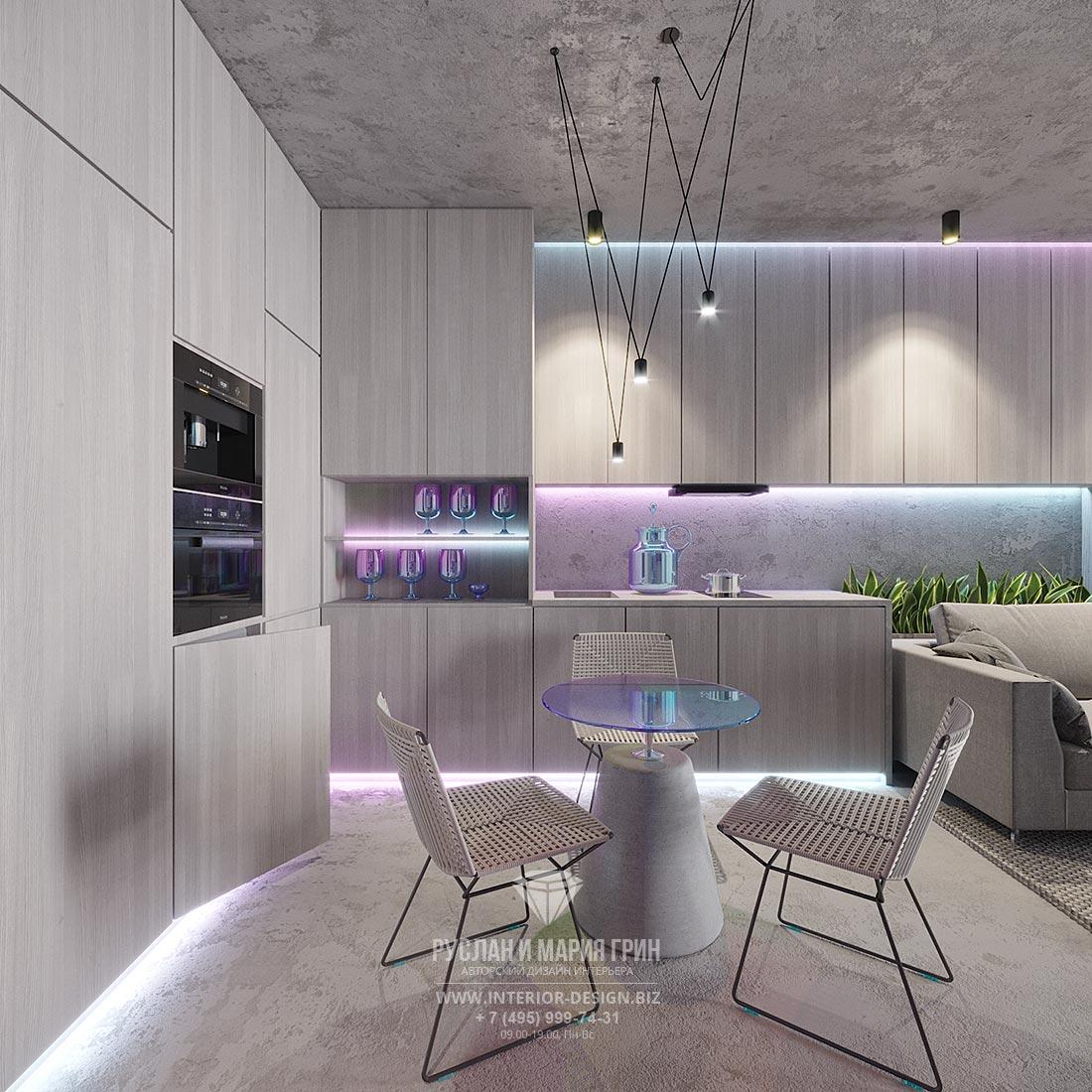 Дизайн современной кухни-столовой в маленькой квартире