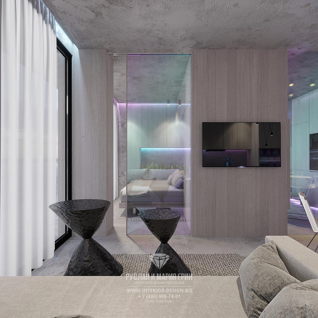 Интерьер квартиры-студии в современном стиле со стеклянной дверью