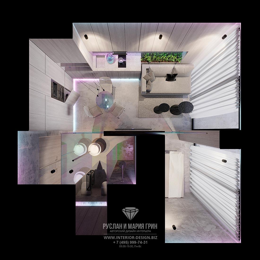 Планировка маленькой квартиры-студии в современном стиле