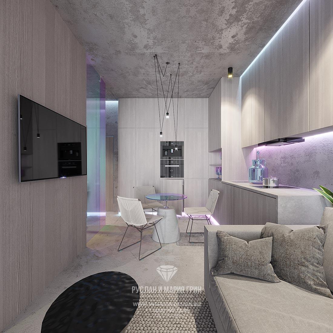 Современный дизайн маленькой квартиры-студии