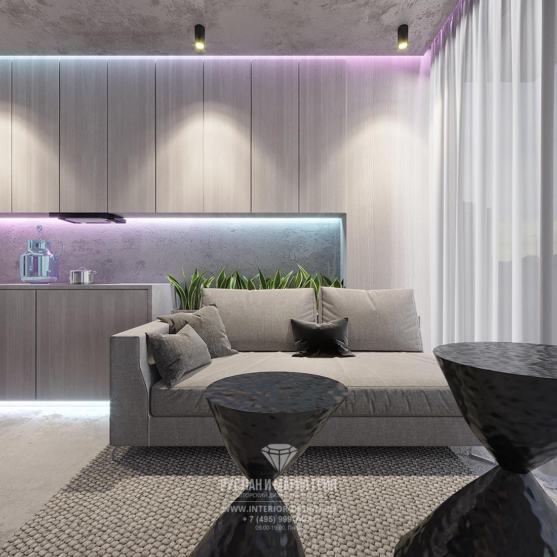 Дизайн современной гостиной в серых тонах