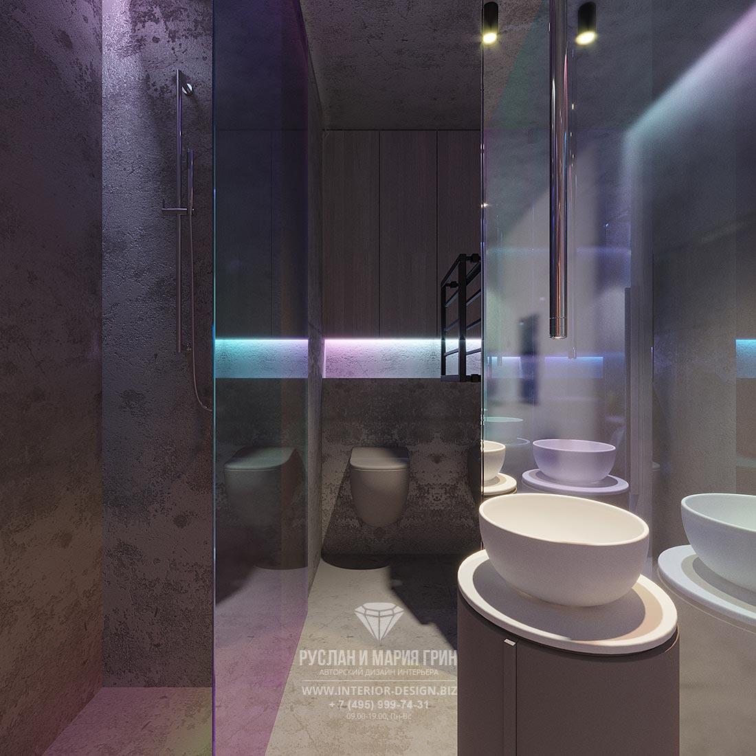 Дизайн современной ванной комнаты с бетонной отделкой