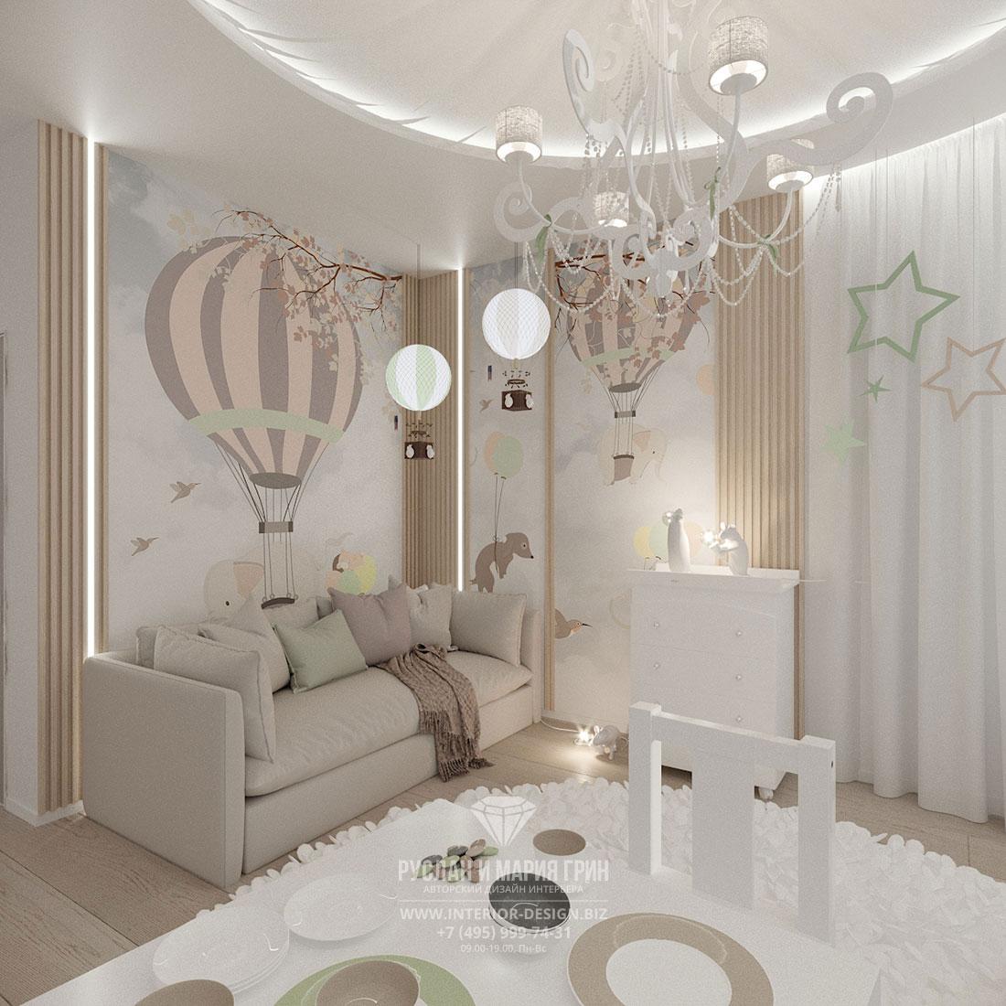Современный авторский интерьер детской комнаты в светлых тонах