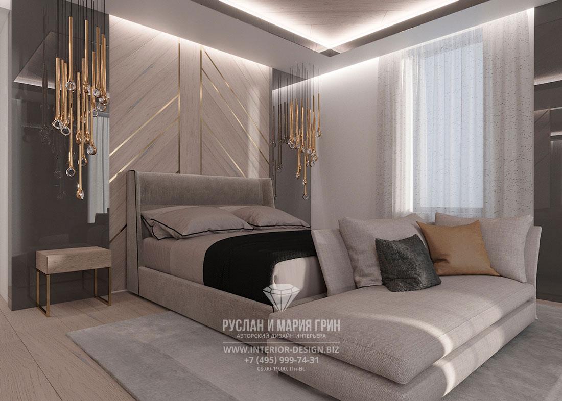 Дизайн спальни в современном стиле с золотистыми акцентами