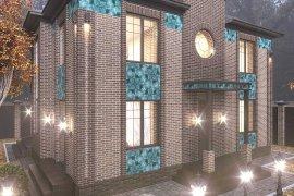 Дизайн фасада и участка дома из кирпича