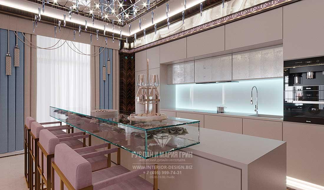 Дизайн кухни в пастельных тонах со стеклянной барной стойкой