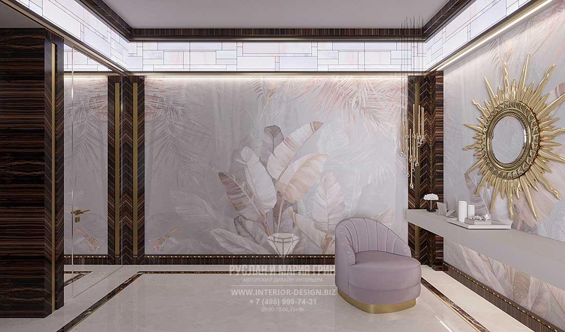 Дизайн светлой спальни в стиле арт-деко с фресками