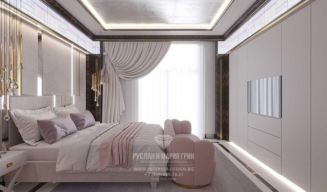 Современный ар-деко в интерьере спальни в квартире