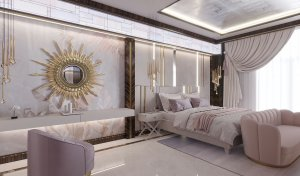 Зеркало в форме солнечных лучей в спальне в стиле ар-деко
