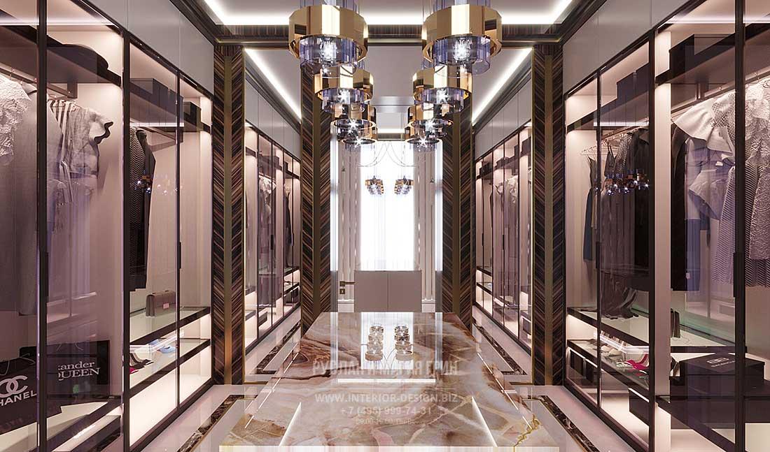 Дизайн гардеробной с большими зеркалами
