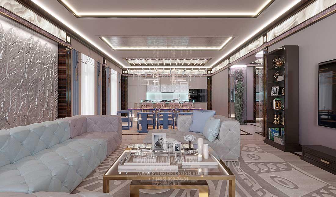 Дизайн кухни-гостиной в пастельных тонах со студийной планировкой