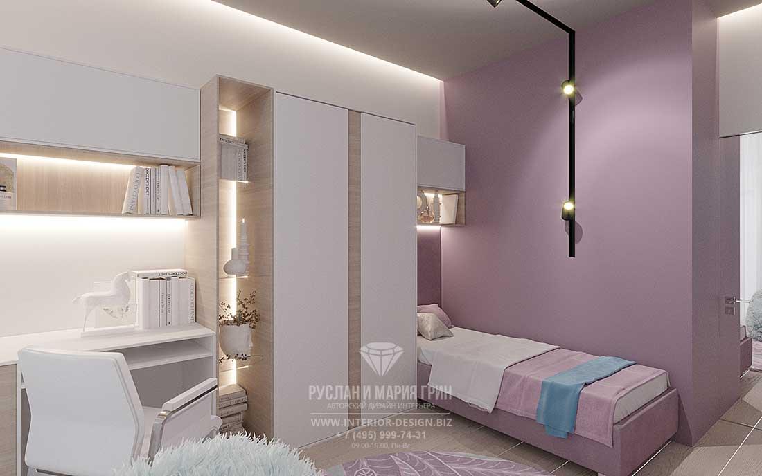 Дизайн бело-розовой девичьей комнаты в современном стиле