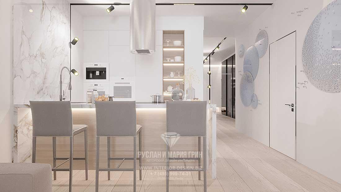 Интерьер светлой кухни в современном стиле с барной стойкой